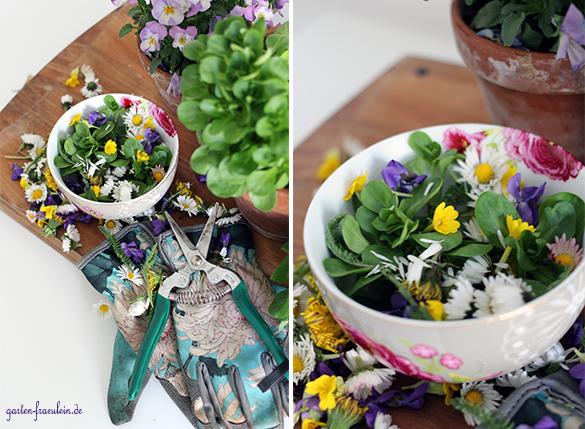 salat mit wildblumen. Black Bedroom Furniture Sets. Home Design Ideas