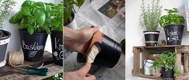 Tafelfarbe-Blumentopf-DIY